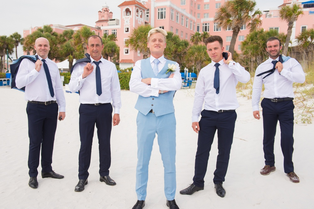 Groomsman Beach Wedding Photo